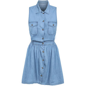 View Item Sleeveless Denim Shirt Dress